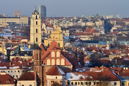 Vilnius old town cityscape, winter morning photo