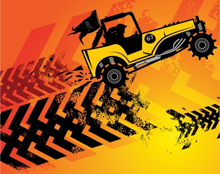 fast track: Off-road buggy abstract background Illustration