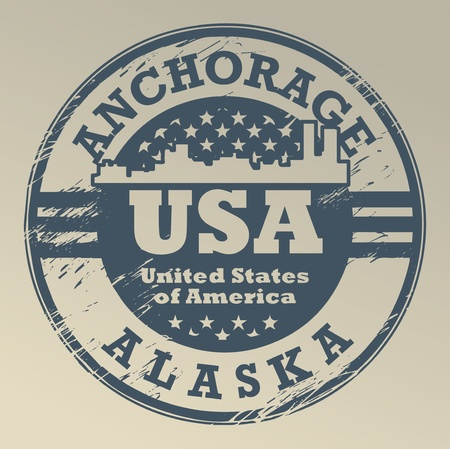 Grunge rubber stamp with name of Alaska, Anchorage Vector