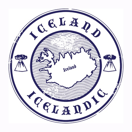 Grunge rubber stamp with the name and map of Iceland Vector