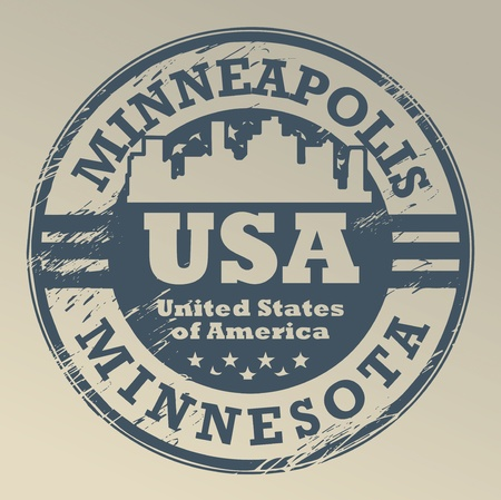 Grunge rubber stamp with name of Minnesota, Minneapolis Vector