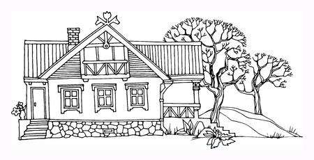 town houses capital: Cartoon hand drawing house