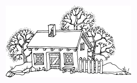outline drawing: Cartoon hand drawing house