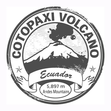 Grunge black stamp with words Cotopaxi Volcano, Ecuador Vector