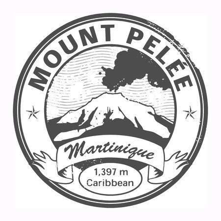 martinique: Grunge black stamp with words Mount Pelee, Martinique Illustration