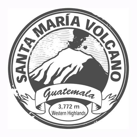 central park: Grunge negro sello con las palabras de Santa Maria Volcano, Guatemala