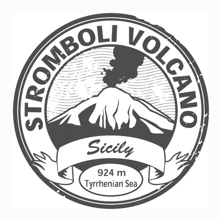 Grunge black stamp with words Stromboli Volcano, Sicily