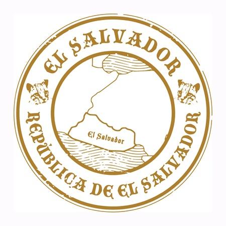 mapa de el salvador: Grunge sello de goma con el nombre y el mapa de El Salvador