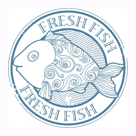 Grunge rubber stamp with fish shape and the word Fresh fish written inside Stock Vector - 18346143