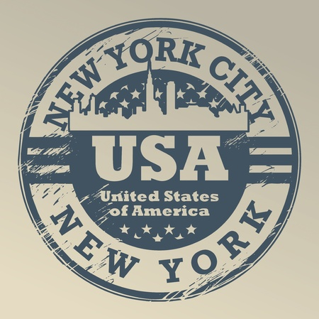 old new york: Grunge rubber stamp with name of New York, New York City Illustration