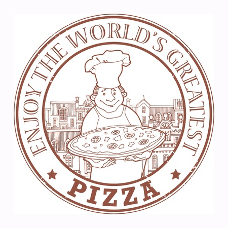 Stamp with Chef with pizza and the text Enjoy the world s greatest pizza written inside Vector