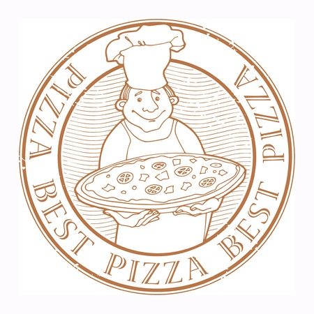 Stamp with Chef with pizza and the text Best pizza written inside Vector