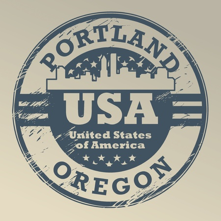 portland: Grunge rubber stamp with name of Oregon, Portland