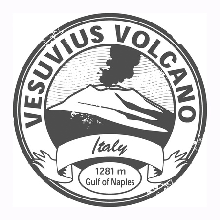 volcano eruption: Grunge stamp with words Vesuvius, Italy Illustration