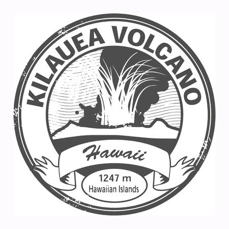 Grunge stamp with words Kilauea Volcano, Hawaii Vector