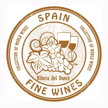blanc: Grunge rubber stamp with words Spain, Fine Wines Illustration
