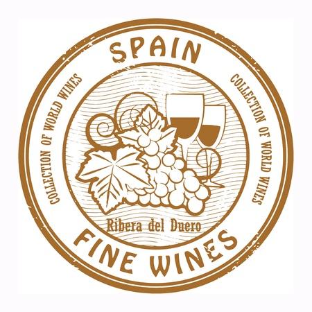 blanc: Grunge sello de goma con la palabra Espa�a, Vinos Finos