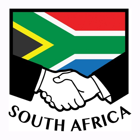 syndicate: South Africa flag and business handshake Illustration