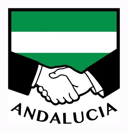 syndicate: Andalucia flag and business handshake Illustration