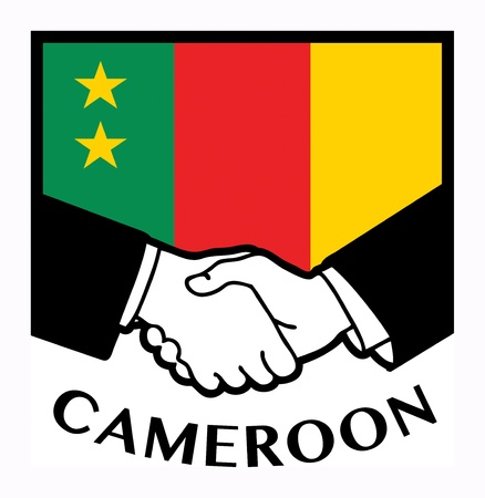 cameroon: Cameroon flag and business handshake Illustration