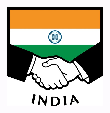 syndicate: India flag and business handshake