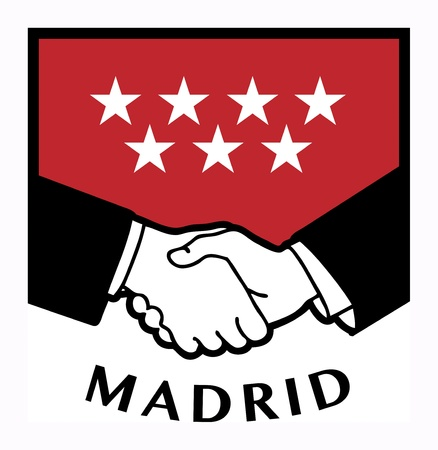 syndicate: Madrid flag and business handshake