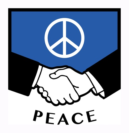 international business agreement: Peace flag and business handshake