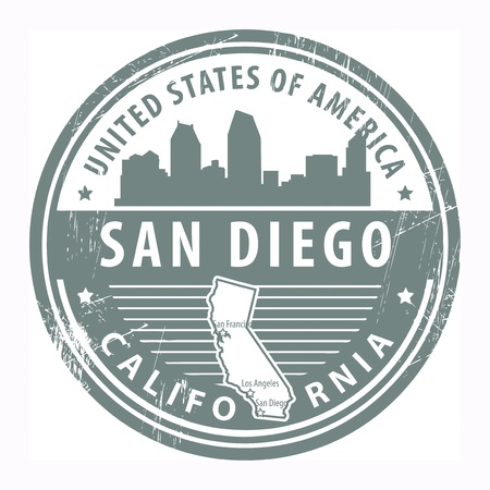 Grunge rubber stamp with name of California, San Diego Vector