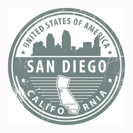 Tampon en caoutchouc grunge avec le nom de Californie à San Diego