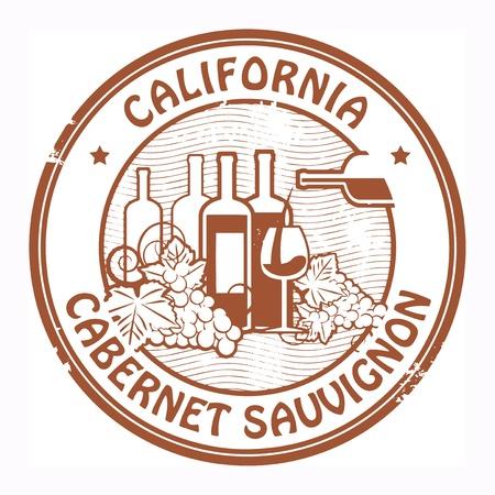 sauvignon: Grunge rubber stamp with words California, Cabernet Sauvignon