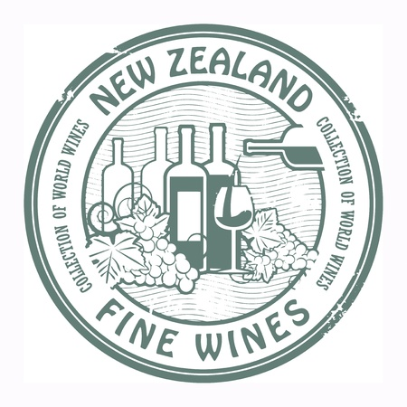 zealand: Grunge rubber stamp with words New Zealand, Fine Wines