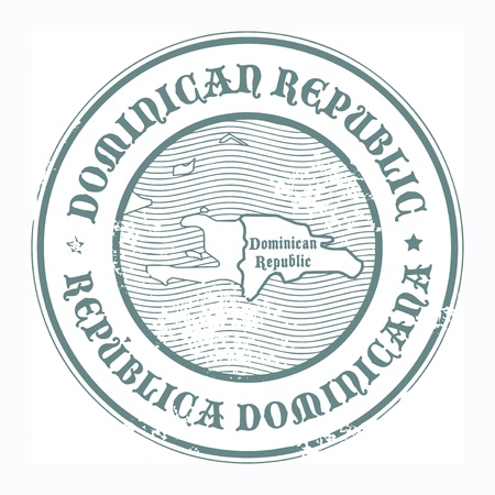 republic dominican: Grunge rubber stamp with the name and map of Dominican Republic