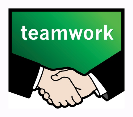 syndicate: Business handshake with text Teamwork Illustration