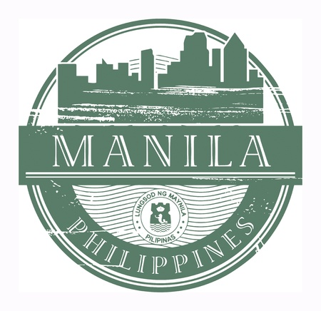 manila: Grunge rubber stamp with the name of Manila, Philippines written inside the stamp