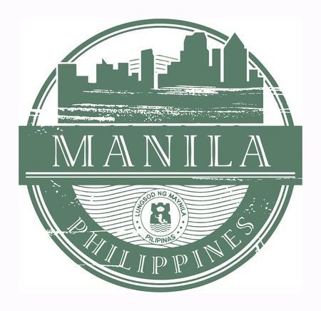 manila: Grunge timbro di gomma con il nome di Manila, Filippine scritta all'interno del francobollo