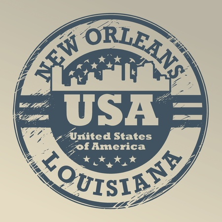 orleans: Stamp with name of Louisiana, New Orleans Illustration