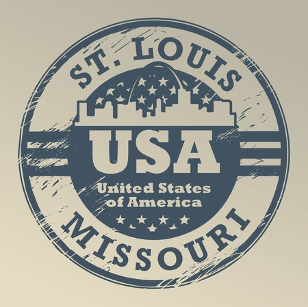 louis: Grunge rubber stamp with name of Missouri, St  Louis