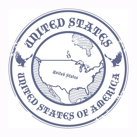 passport stamp: Grunge rubber stamp with the name and map of United States