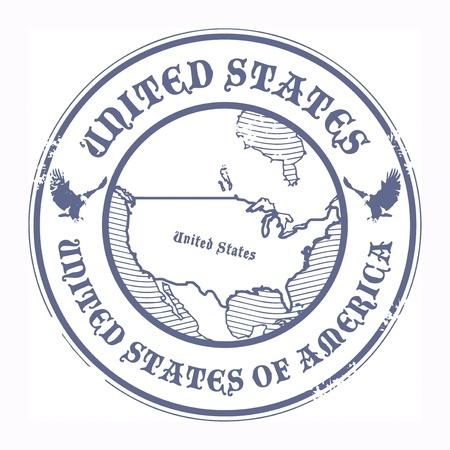 stempel reisepass: Grunge Stempel mit dem Namen und der Karte der Vereinigten Staaten Illustration