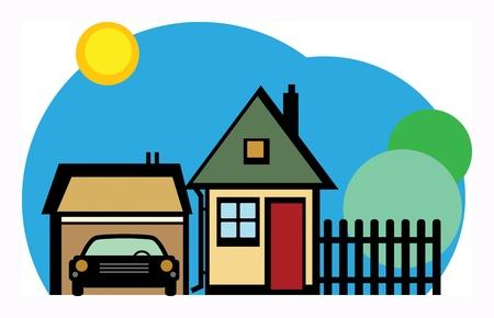 composite image: Home and garage Illustration