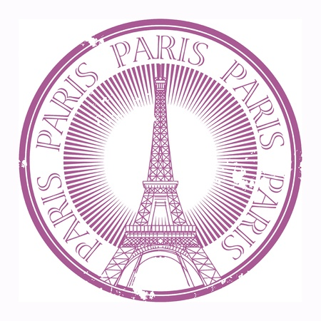 vintage paris: Grunge rubber stamp Paris tema