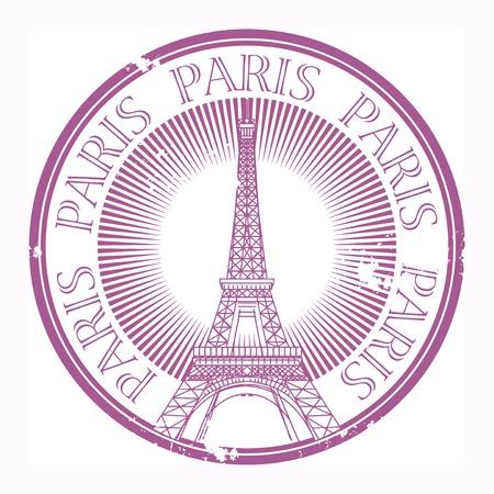 paris vintage: Grunge rubber stamp Paris tema