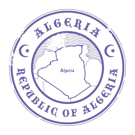 Grunge rubber stamp with the name and map of Algeria Vector