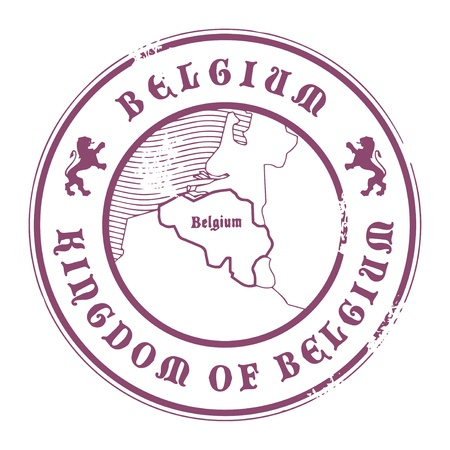 belgium: Grunge rubber stamp with the name and map of Belgium Illustration