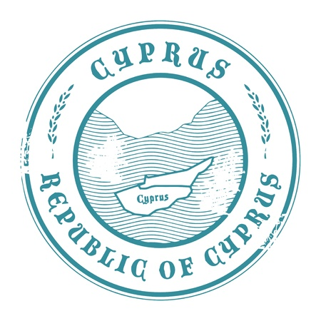 Grunge rubber stamp with the name and map of Cyprus Vector