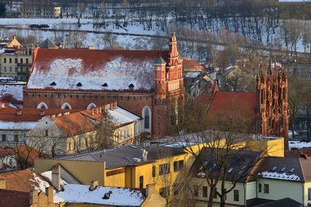 anne: St  Anne s and Bernardinu Church in Vilnius, winter evening