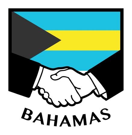 reconciliation: Bahamas flag and business handshake