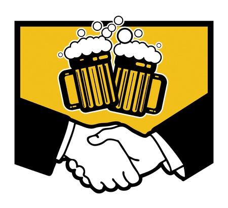 Beer symbol and business handshake Stock Vector - 18684729