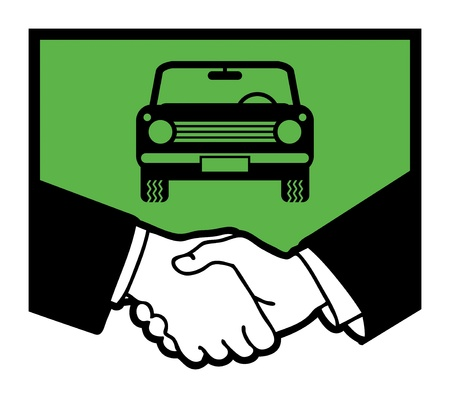 syndicate: Car symbol and business handshake