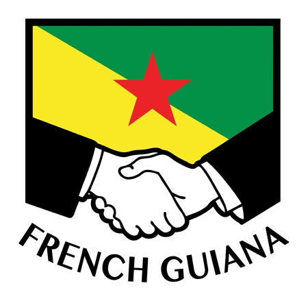 french guiana: French Guiana flag and business handshake